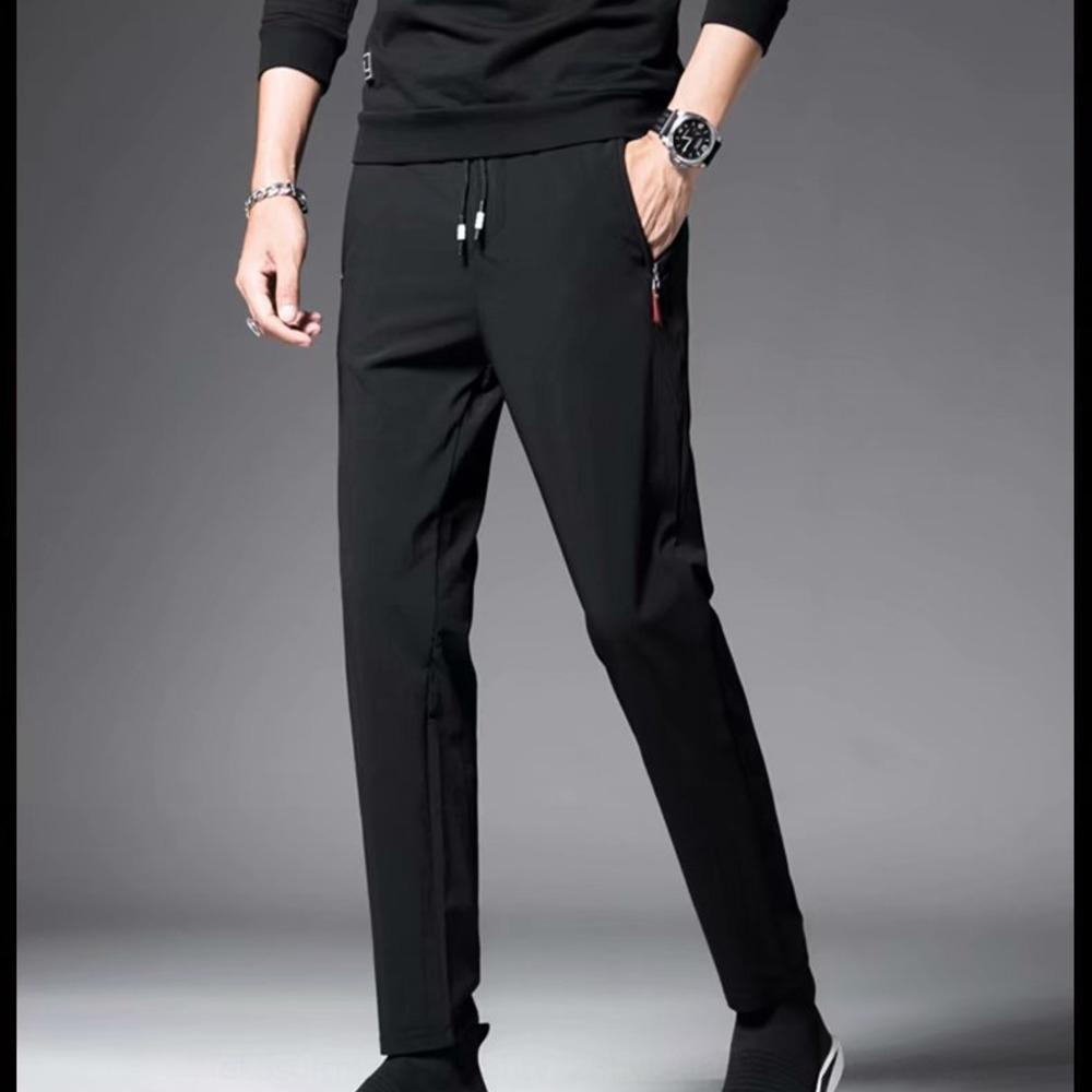 tT6p5 fina seda moda gelo e Calças calças de trabalho leve ao ar livre cortina de personalidade tendência elástica calças dos homens calças vermelhas líquidas wCL0e