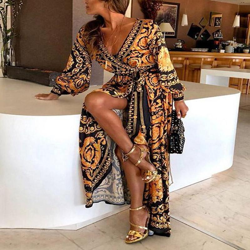 Новый стиль Мода элегантных женщин Sexy Boat Neck Блеск Глубокий V шеи печати платье партии Формальное длинное платье Sexy Clubwear
