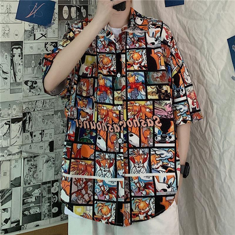 2020 летние новые молодости популярные мужские свободные, японские пять точечные рукава рубашка мода повседневная однобортная рубашка M-XL1