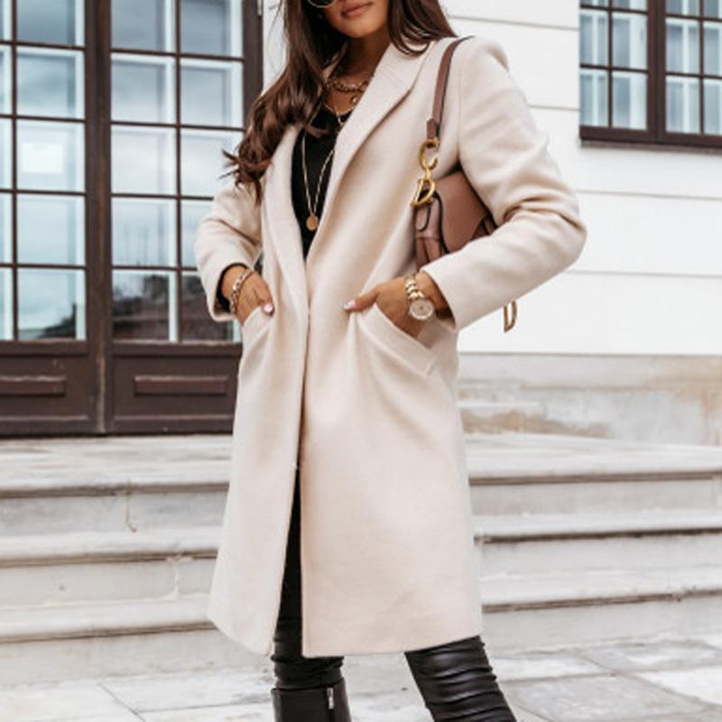 Осень воротник отложной Mid-Long Карманный Coat Элегантный офис леди Кнопка Твердая зимняя куртка длинным рукавом Тонкий кардиган Outwear3XL