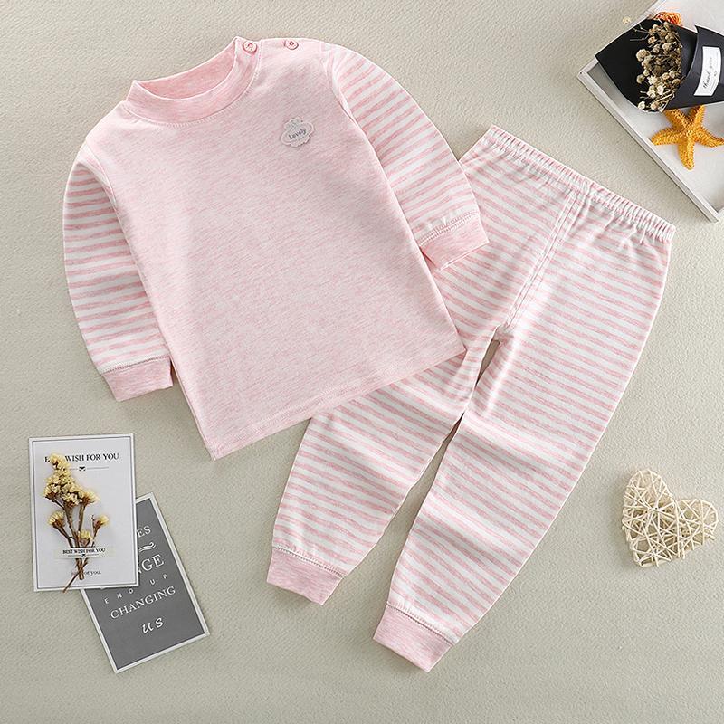 Baby Boys Girl Pajamas наборы чистые хлопчатобумажные костюмы Pajamas с длинными рукавами + брюки дети дети мальчик девушки одежда 201126