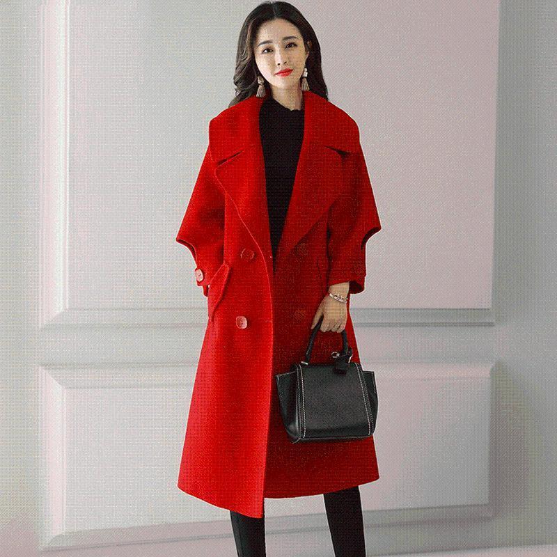 Women's Wool Blends Women 2021 Autunno Inverno Mid-Lungo Lango Outwears Femmina Doppio Porto Bresed Colore Solido Cappotti Signore Allentati Giacche calde V