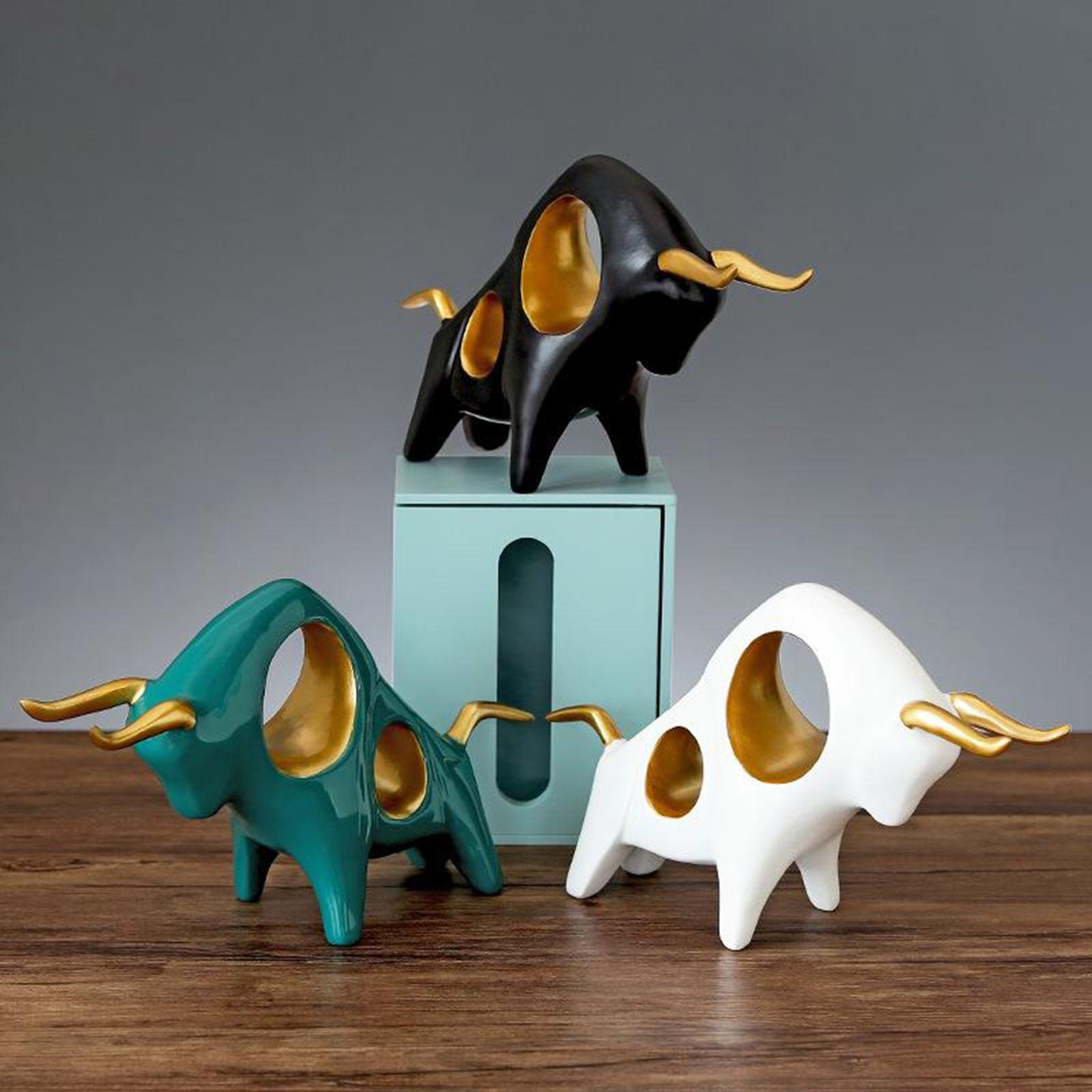 Escultura de OX de resina para decoración de la habitación Escultura artesanal de arte para sala de estar Pasillo Habitación Consola de consola Decoración del hogar