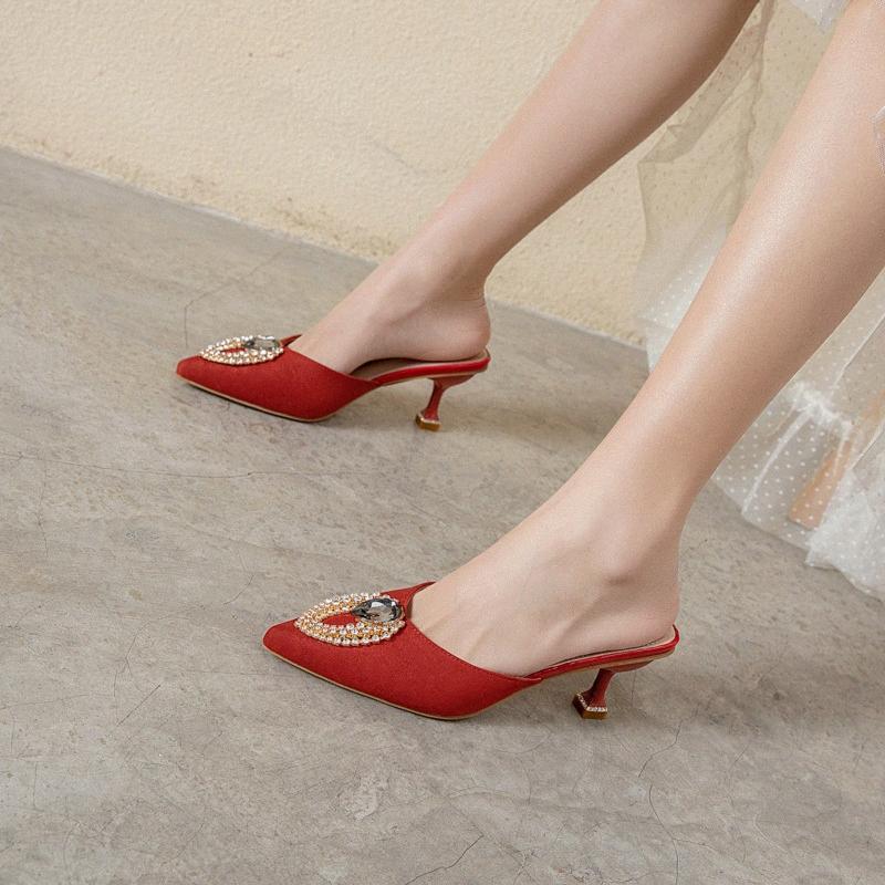 Big Strass High Heel Mules Schuhe Frauen Flock Spitzschuh Hausschuhe Frauen-Sommer-elegante geschlossene Zehe Hausschuhe Schwarz Rot Beige Oxjj #