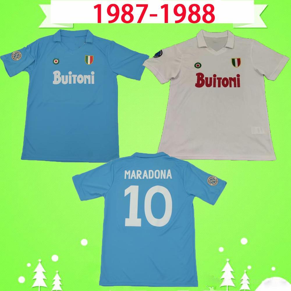 Camiseta de futbol Maradona 1987 1988 Calidad tailandesa Edición retro Napoli aniversario versión Nápoles conmemora limitada soccer Jersey de fútbol 87 88 cosecha clásica 1926 Maillot de foot