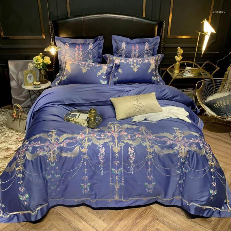 Папамима фиолетовый европейский золотой египетский хлопковый постельное белье набор вышивка королева королевский размер одеяла крышка установленная подушка для одеяла Shams1