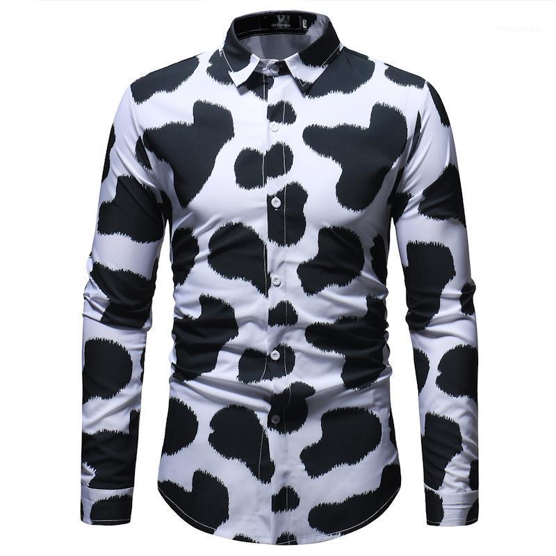 Padrão de vaca 3D Imprimir camisa de manga longa homens 2020 Brand New Slim Fit Dress Dress Camisas Casuais Botão Down Camisas Para Hombre 3xl1