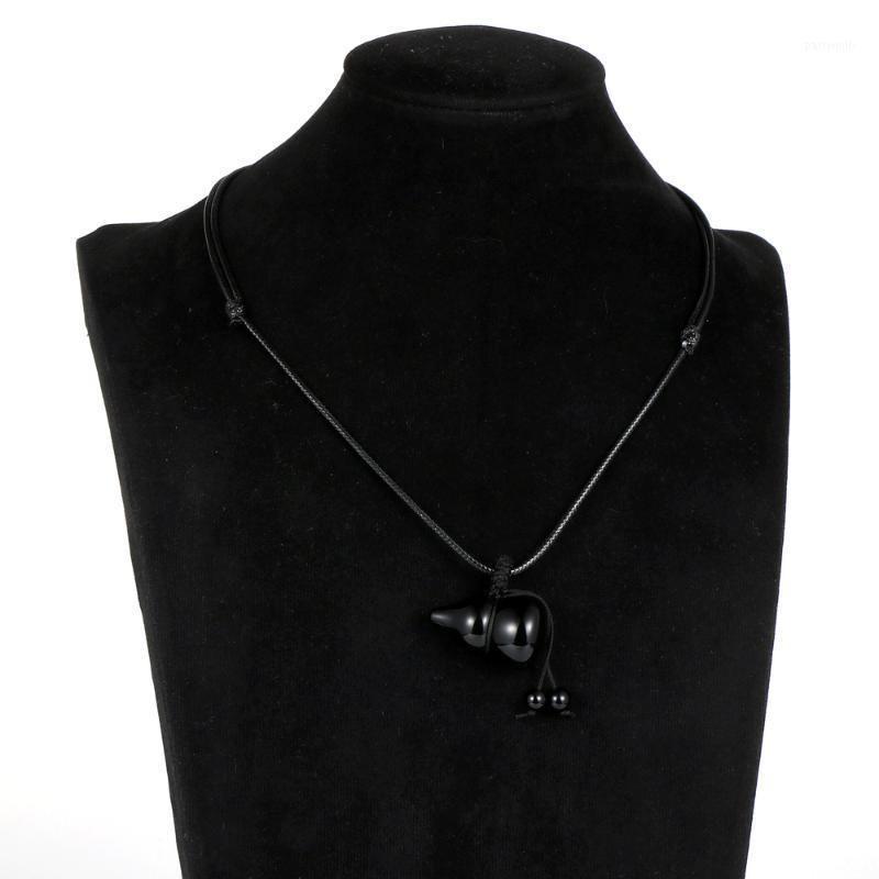 Кулон Ожерелья Мужчины Женщины Осидиана Выбор Ожерелье Ювелирные Изделия Натуральный Камень Вощеный Шнур Регулируемая Ключица Choker Choker Ожерелья1