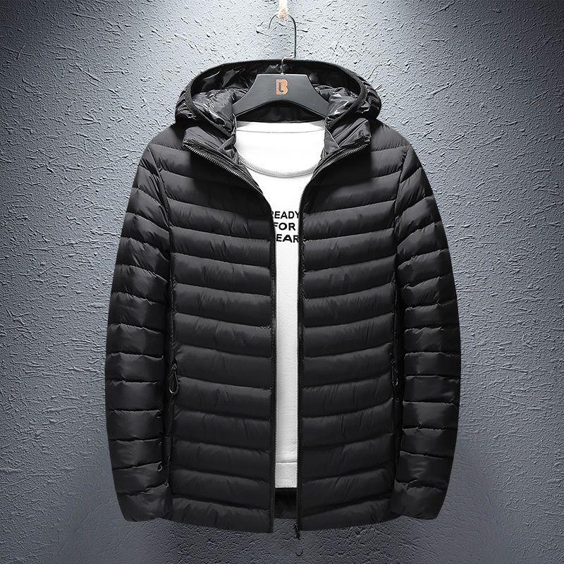 Hommes Parka coton matelassé avec capuche d'hiver Mens Coat Veste chaude Vestes Homme Couleur unie pied de col Fermeture éclair épais manteaux en duvet Parkas