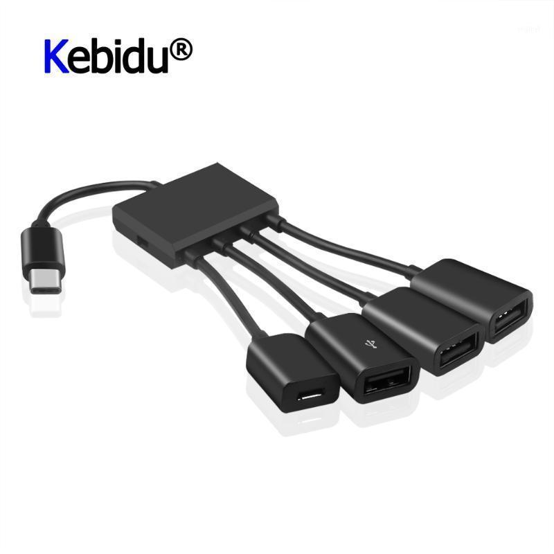 Hubs OTG 3/4 Portas Tipo-C 3.1 Hub Portátil Power Charging Connector Adaptador Tipo C a 3 USB 2.0 Port Micro USB1