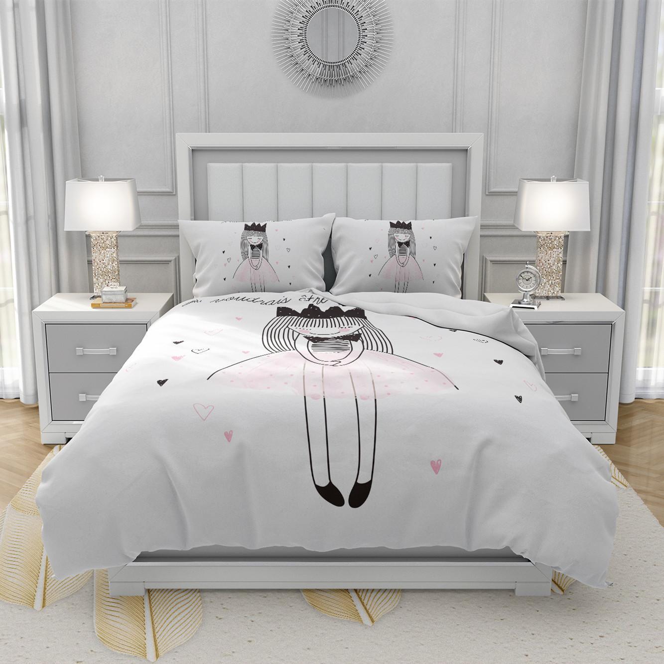 Nordic мультфильм принцесса белый пододеяльник набор девушек простые милые дети постельное белье односпальная кровать льняная кровать крышка для детей мальчиков LJ201128