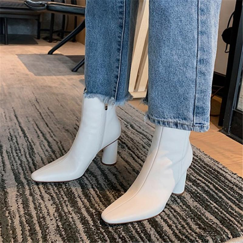 Pxelena koreanische büro dame dress party stiefeletten echtes leder seltsame high heels stiefel 2020 herbst winter schuhe beige 40