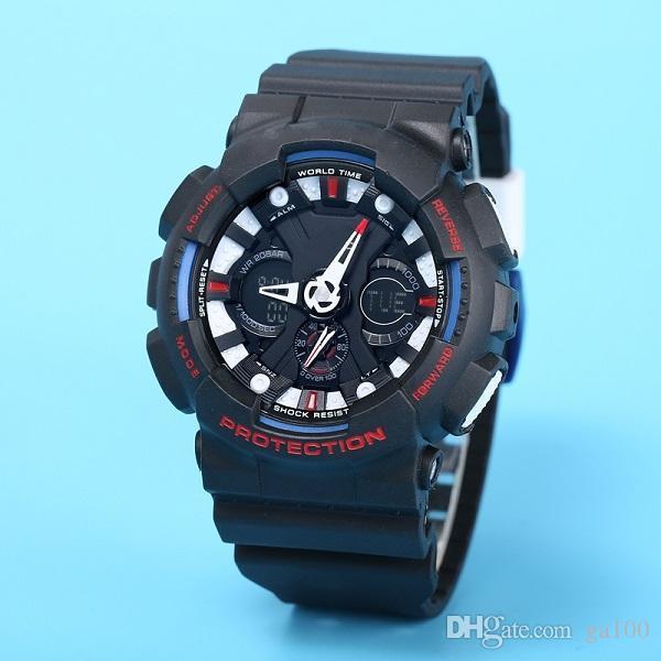 Casual Sport Męski Zegarek 120 Zegarek Elektroniczny LED LED Out Out World Time Wodoodporne i odporne na wstrząsy