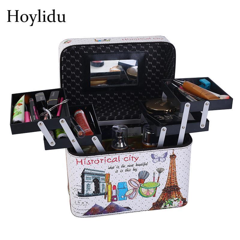 Sac de maquillage professionnel de grande capacité Femmes Cosmétique Boîte de voyage Organisateur Multi-couche Maquillage Make Up Sac Femme Suitcase Suit cas de toilette LJ201008
