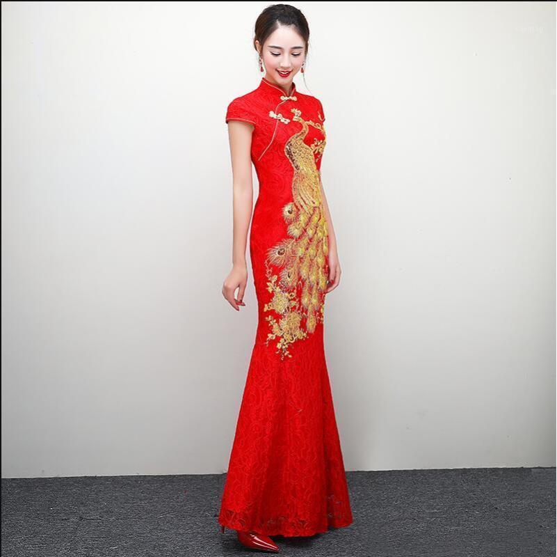 Ropa étnica Vestido de novia chino rojo femenino manga larga de manga corta cheongsam gold slim mujeres tradicionales Qipao para fiesta1