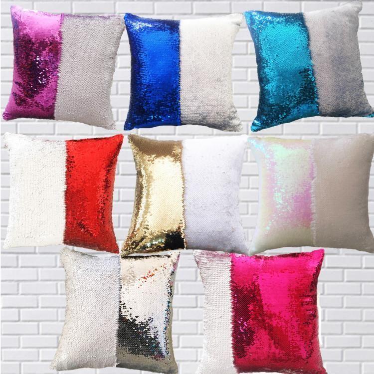 DHL Shipping 12 Colors Paillettes Paillettes Mermaid cuscino cuscino Cuscino Nuovo Sublimazione Magic Sequins Blank Cuscino Casi Transfer Hot Transfer Stampa DIY Regalo personalizzato