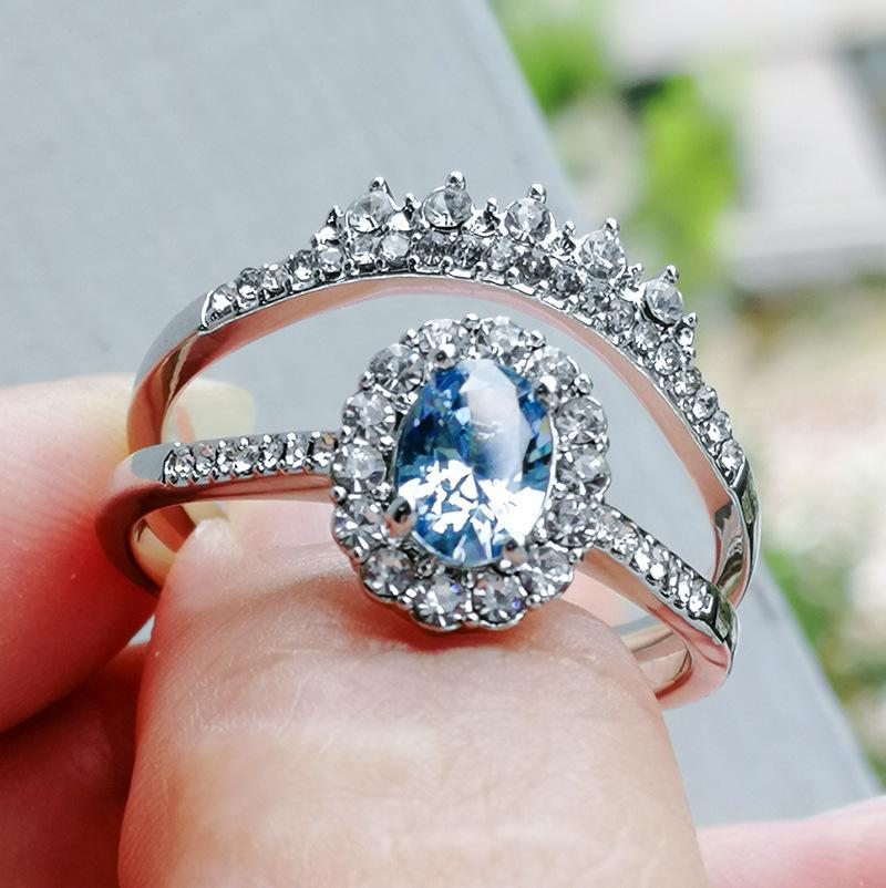 A Pair Lake Blue CZ Stone Rings Set for Women Silver Color Wedding Engagement Party Couple Crystal Ring Jewelry Accessories Gift