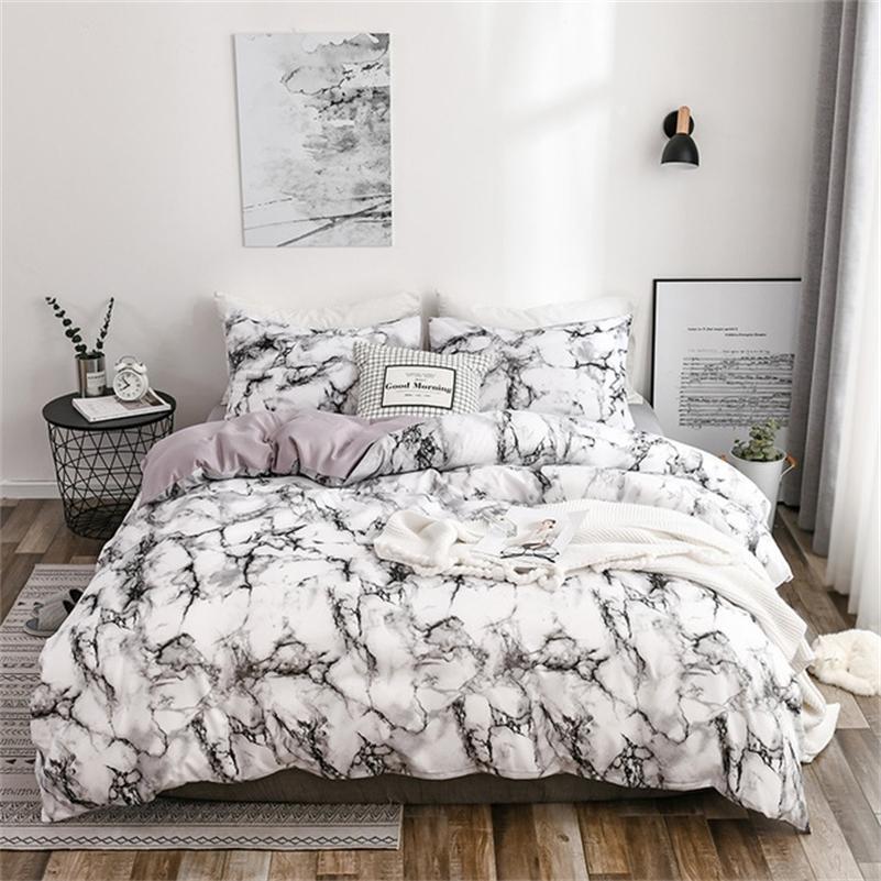 Mármol impreso 6 colores Conjunto de ropa de cama Edredón Cubierta Sheets 2 / 3pcs Cubiertas King Queen Size Bedlineen Alta calidad Edredón Cuencas 201210