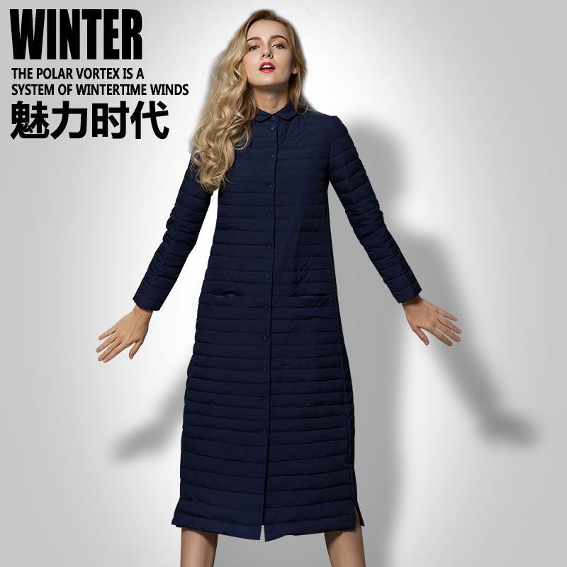 2019 Winter-90% Weiße Ente Jacke Damen-lange Art Ultra Light Weight Daunenmantel Weibliche Oberbekleidung