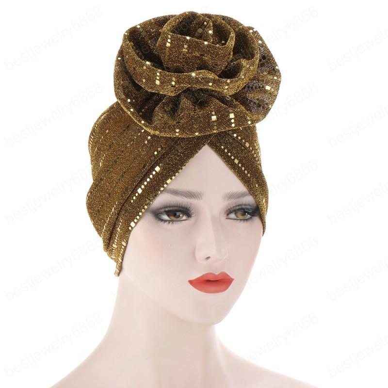 New Fashion Bright Sequins Floral Headwrap Caps Cancer Chemo Beanies Hair Hide Turban Hats for Women Hair Accessory