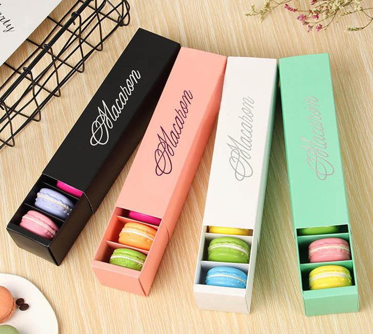Boîtes à gâteaux Macaron Macaron Macaron Boîtes à chocolat Biscuits Muffin Box Boîte Détail Packaging Noir Blanc Rose Vert WB3224