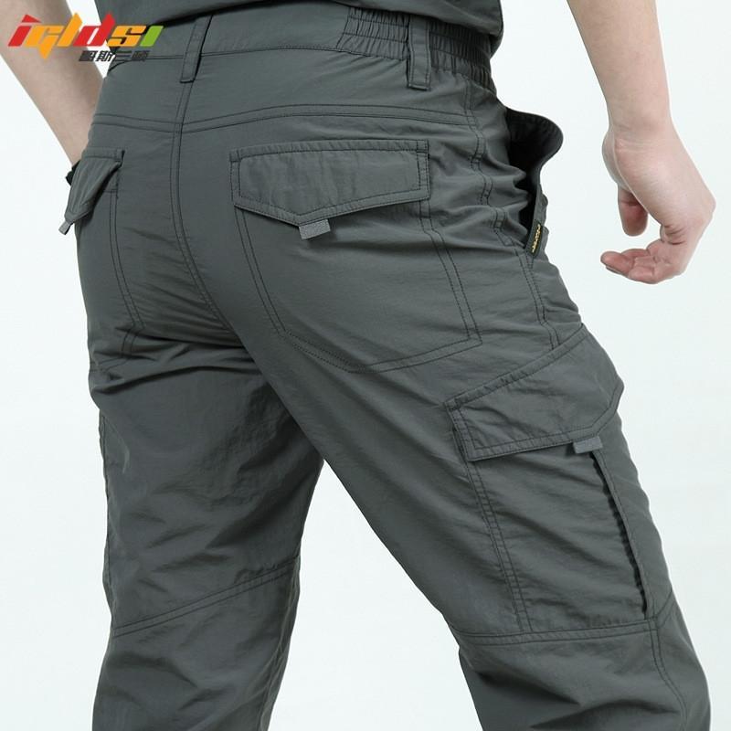 Hızlı Kuru Rahat Pantolon Erkekler Yaz Ordusu Askeri Stil Pantolon erkek Taktik Kargo Pantolon Erkek Hafif Su Geçirmez Pantolon 201116