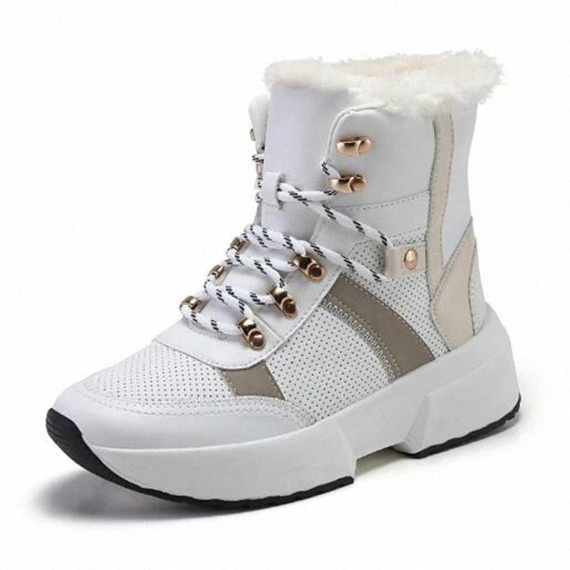 Женские сапоги сплит кожа супер теплые мех зимние сапоги женские черные белые туфли женщины мода дамы стройная платформа лодыжка # HY1J