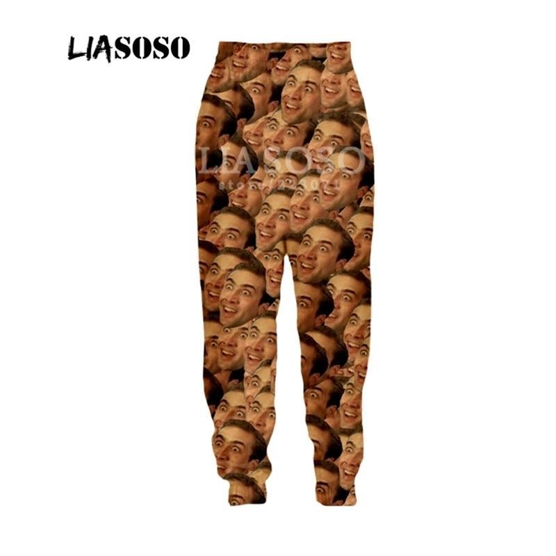 Liasoso otoño nuevo hombres mujeres pantalones de moda 3D estrella de impresión nicolas jaula deportes fitness fitness hip hop pantalones B054-09 Y201123