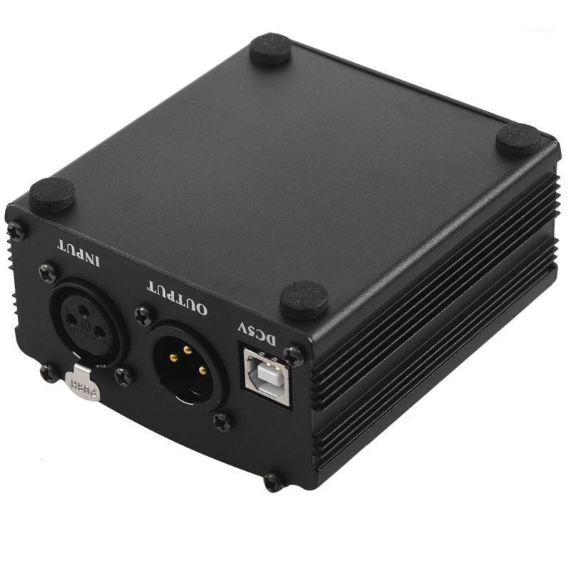 Microfones 48V USB Phantom Alimentação Cabo de alimentação Microfone para mini condensador Equipamento de gravação-Black1
