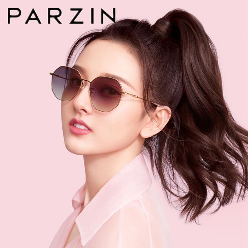 Óculos de sol parzin mulheres designer metal polígono moldura moda tendência torres para prescrição personalizada miopia