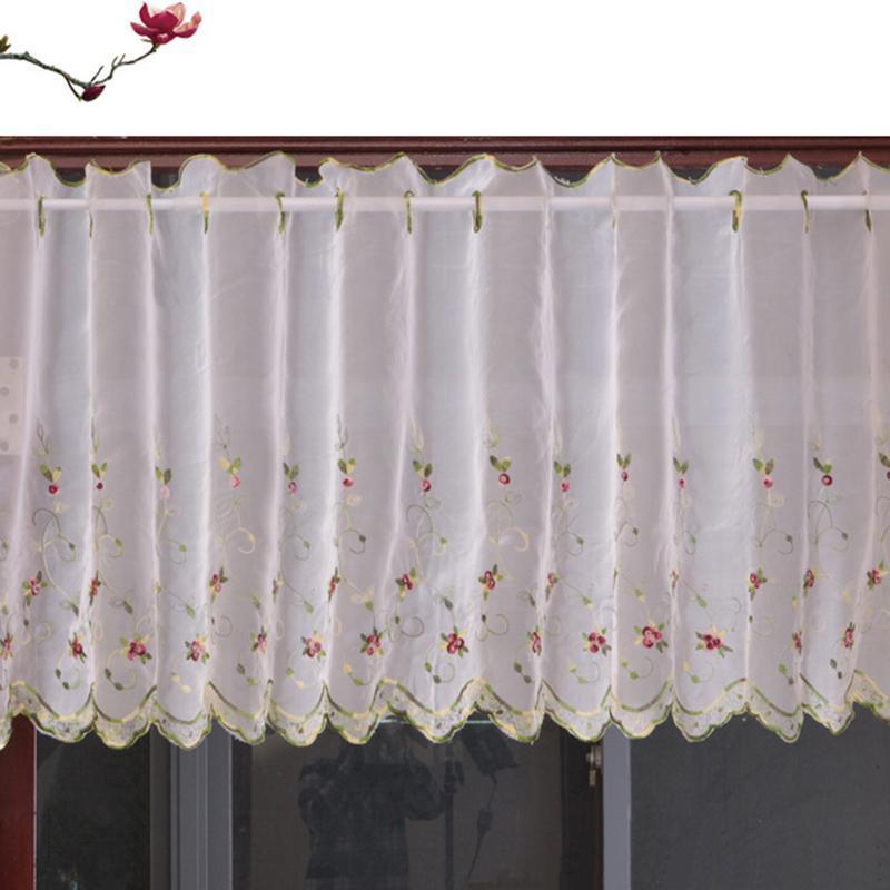 التطريز الستائر القصيرة الزهور للمطبخ الستائر بيليوم الفوال الستائر لغرفة المعيشة نوم الباب نافذة الستائر