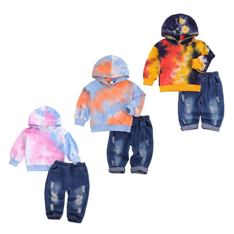 Clothing Sets 2021 Fall Spring Baby Girl Set Children Tie Dye Print Long Sleeve Hooded Sweatshirt + Elastic Waist Ripped Jeans 1-6T