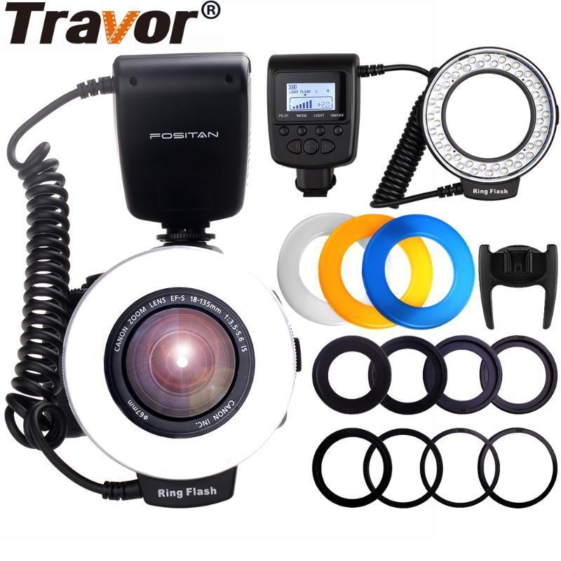 Travor Ring Macro Flash-RF-550E Speedlite LED Ringblitz-Licht mit 4 Diffusoren und 8-Adapterringe für Minolta
