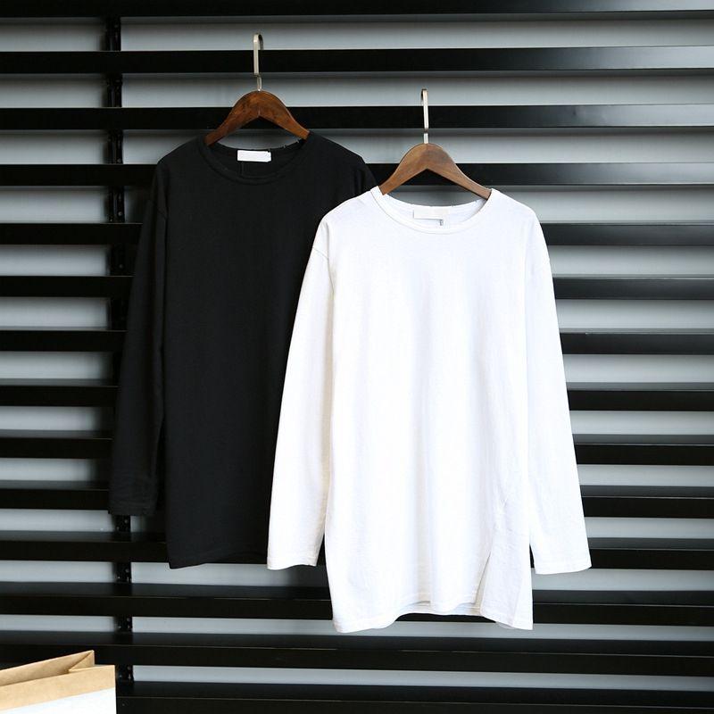 Papier Mann-lange Hülse grundiert shirtAutumn und Winter vielseitig dünne mittlere Länge zeigt für T-Shirt T-Shirts Frauen lösen Freizeitkleidung mit
