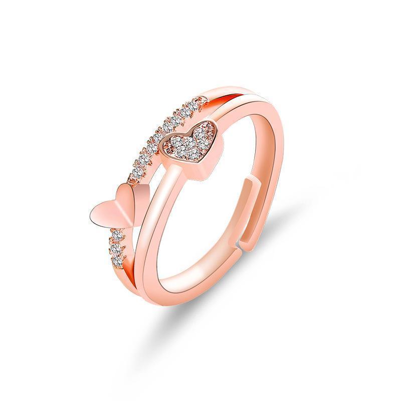 Heart Rings White/Rose Gold Double Ring Engagement Wedding Rings