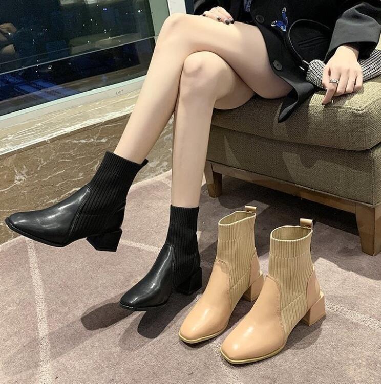 Британский стиль эластичные вязаные лодыжки ботильоны 2021 осень Корейский корейский мартин квадратный носок толстый каблук002