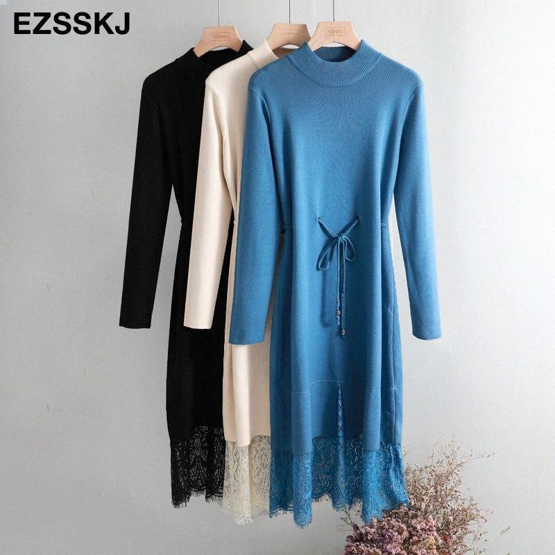 элегантный O-образным вырезом свободный длинный толстый свитер женщин платья осень зима кружева кулиской платье Femme Узелок балахон трикотажное платье Y200102 Y8We #
