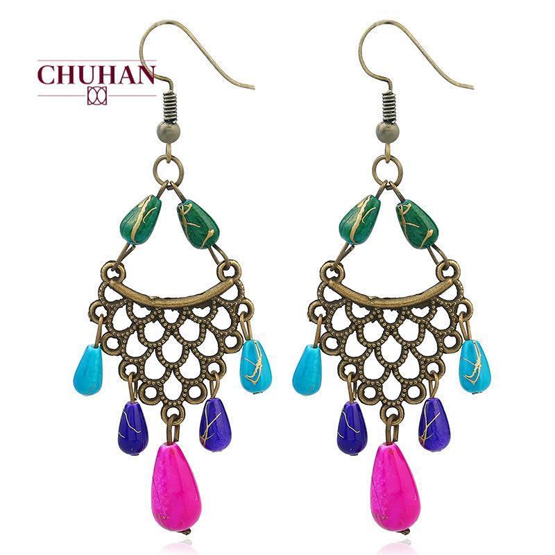 Chuhan Fashion Boucles d'oreilles 2020 Bijoux Vintage ethnique Boho Tassel Boucles d'oreilles longues pour la mariée fille Bijoux Accessoires J48