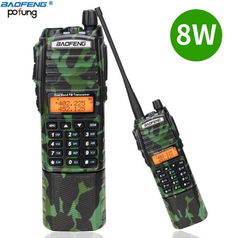 Baofeng UV-82 Camo Walkie Talkie 8Wapowerful UHF VHF Dual Band 3800mAh 10KM Long Range UV 82 для охоты на пеший туризм Two Way Радио