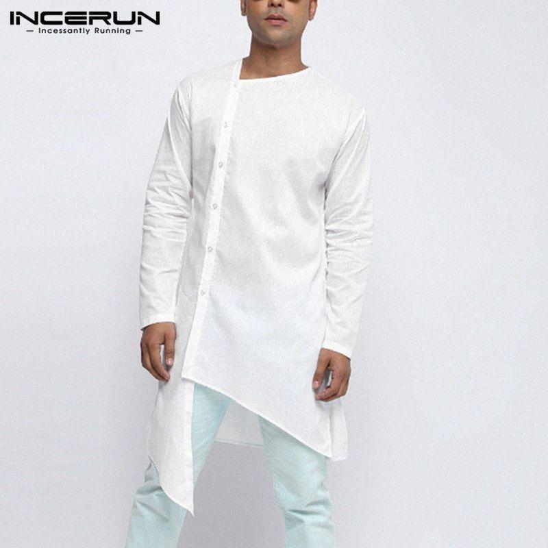 INCERUN Männer Unregelmäßige Hemd-Kleidung Langarm-Fest Farbe Knopf Lange Shirts Männer Kurta Vintage-Street Muslim Tops Ould #