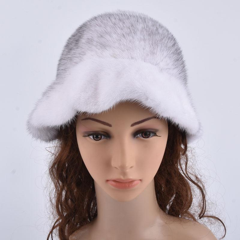 Szerokie kapelusze brzegi całe kapelusz z prawdziwymi futrzanymi kapeluszami kobiet moda fasole przypadkowi ćwierć