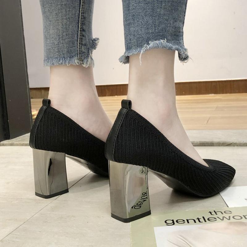 Серебро Каблуки TACONES женщина стрейч flyweaving насосы квадратный носок прозрачное вязаное escarpins Femme коренастых высоких каблуков обувь женщины