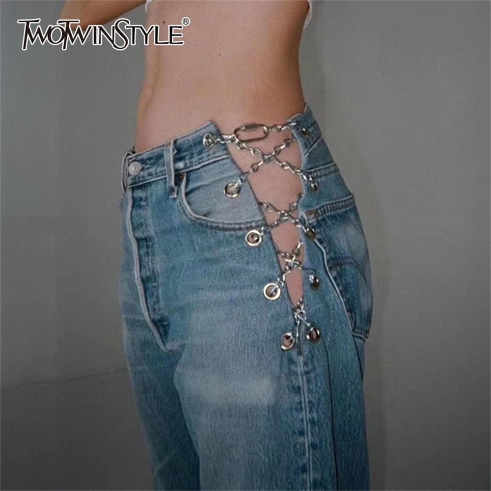 Twotwinstyle Sexy Pantalones de longitud completa Alta Wiarst Cadenas de parches de mosaico Hit Color Straight Vintage Jeans para ropa femenina Moda Nuevo LJ200819