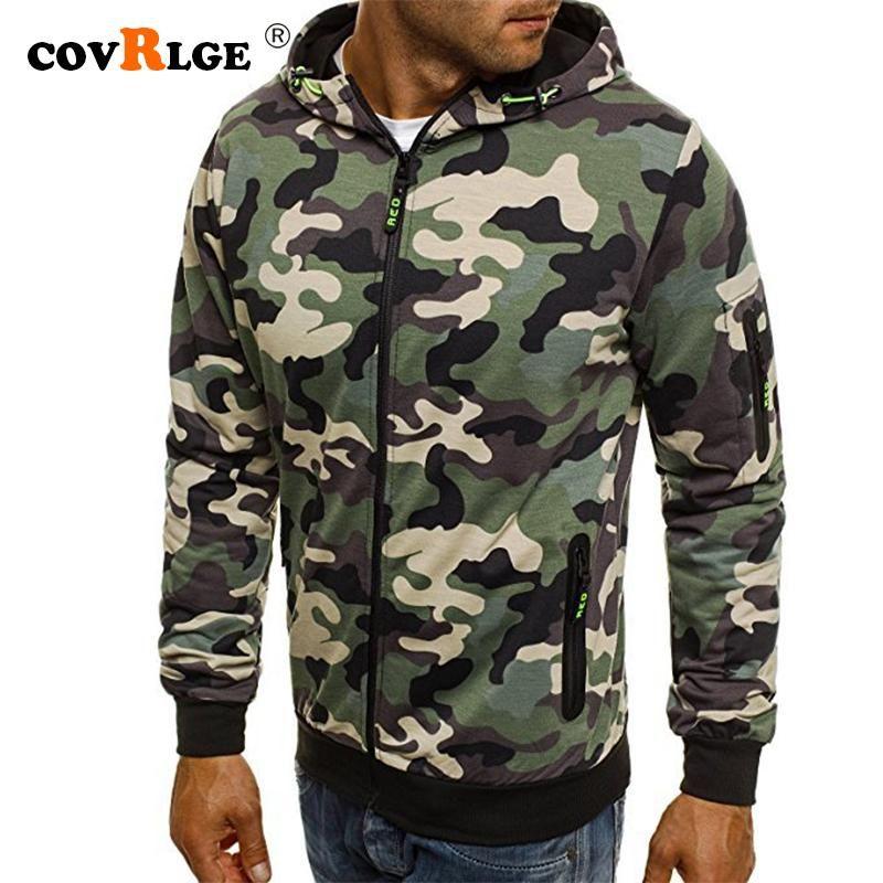 Covrlge Men's Zipper Hoodie 2021 Novo Outono Camuflagem Camisolas Casual Moda Sólida Streetwear Homme Hoodies MWW169