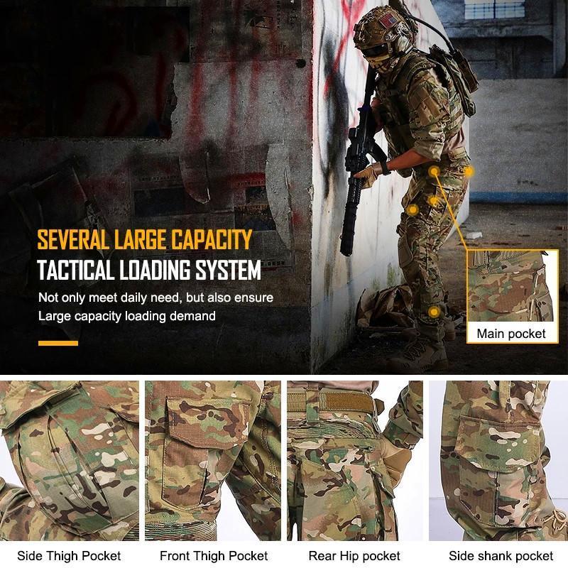 2020 nueva rodilleras y pantalones de aire colchón de aire pantalones tácticos de caza uniforme de camuflaje