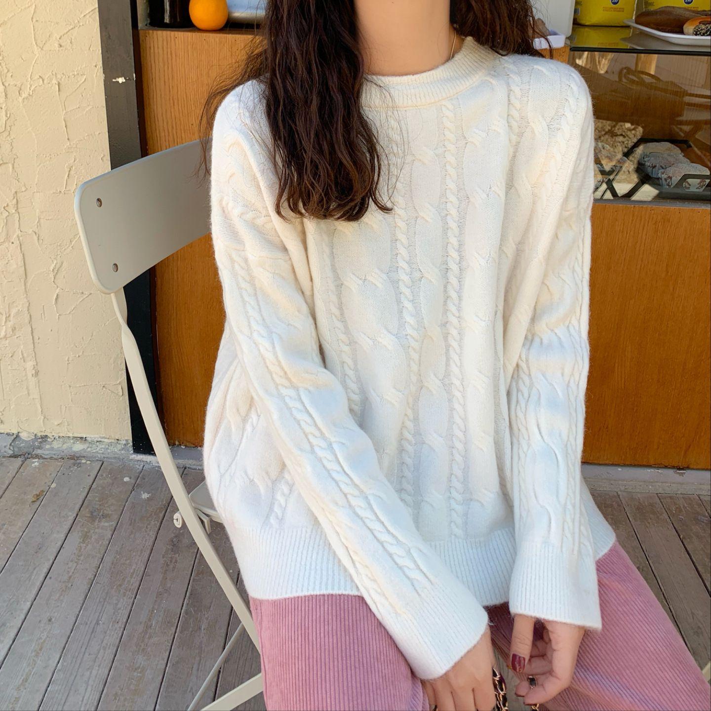 Le donne inverno maglione pullover maniche lunghe in cotone Gentiana Stitch