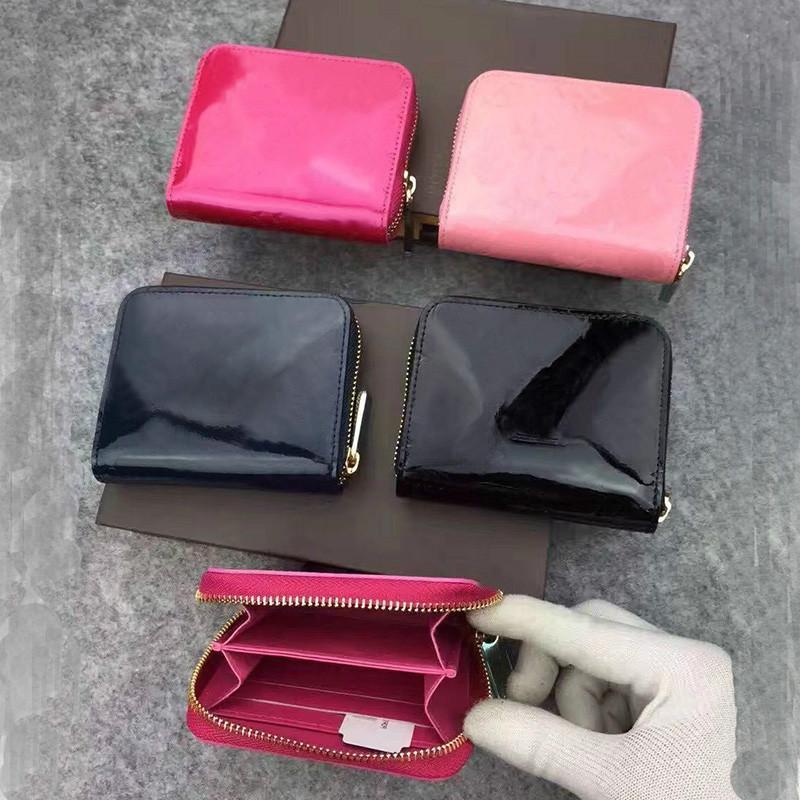 Patent Leather Breve modo del raccoglitore del raccoglitore per signora di alta qualità Shinny Card Holder Leather Coin Purse Portafoglio Donna Classic Zipper Pocket