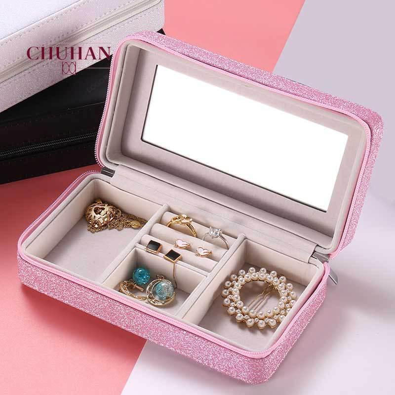 Chuhan style européen Boucles d'oreilles Voyage boà Boîte à bijoux Boîte de rangement multifonctions bijoux J310 Portable