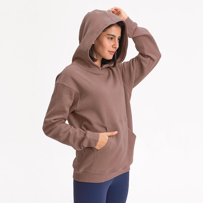 L-27 Autumn Winter Hooded Outdoor Leisure Sweater Gym Clothes Women Loose Thick Yoga Tops Hoodies Running Fitness Exercise Coat Sweatshirt