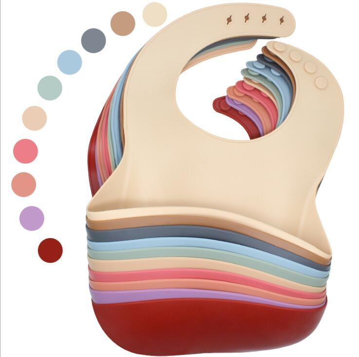 Bébé de silicone bébé Bébé Baby-Bébé Couleur Solide Imperméable Enfants Silicone Baby Saliva Riz Poche de riz Produits pour nourrissons maternels YL252